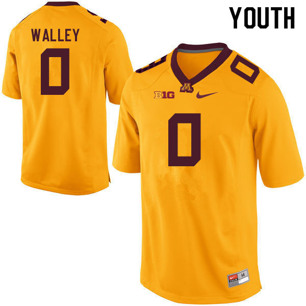 Youth #0 Justin Walley Minnesota Golden Gophers College Football Jerseys Sale-Gold
