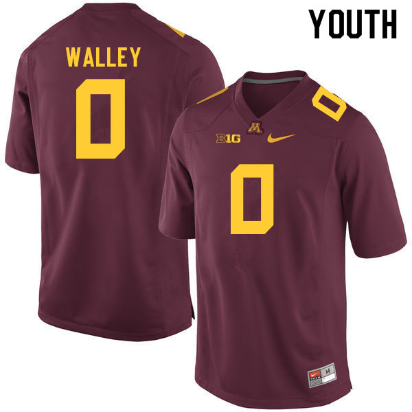 Youth #0 Justin Walley Minnesota Golden Gophers College Football Jerseys Sale-Maroon