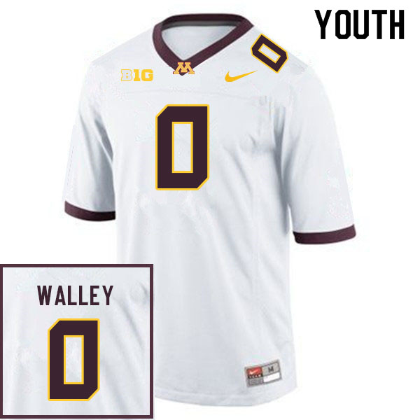Youth #0 Justin Walley Minnesota Golden Gophers College Football Jerseys Sale-White