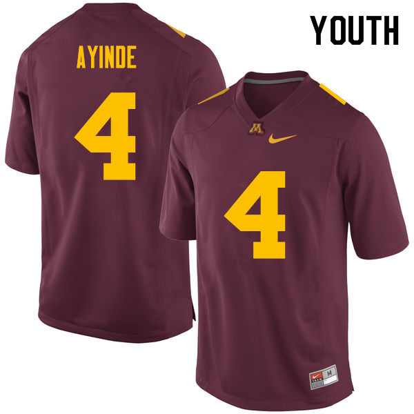 Youth #4 Adekunle Ayinde Minnesota Golden Gophers College Football Jerseys Sale-Maroon