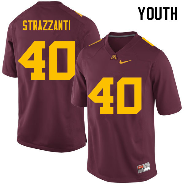 Youth #40 Alex Strazzanti Minnesota Golden Gophers College Football Jerseys Sale-Maroon