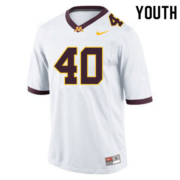 Youth #40 Alex Strazzanti Minnesota Golden Gophers College Football Jerseys Sale-White