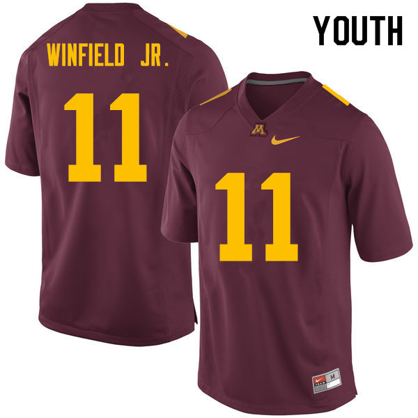 Youth #11 Antoine Winfield Jr. Minnesota Golden Gophers College Football Jerseys Sale-Maroon