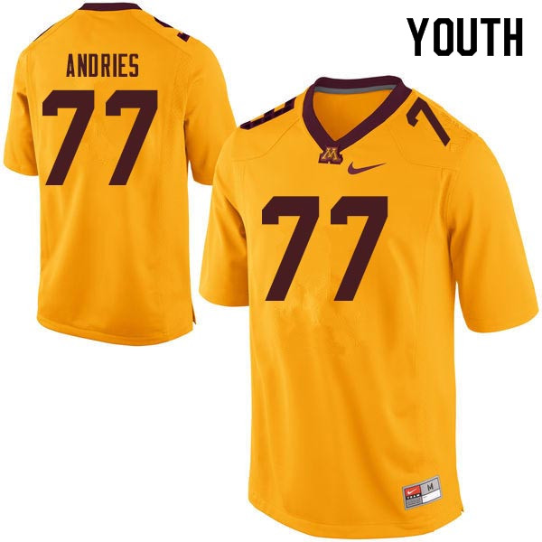 Youth #77 Blaise Andries Minnesota Golden Gophers College Football Jerseys Sale-Gold