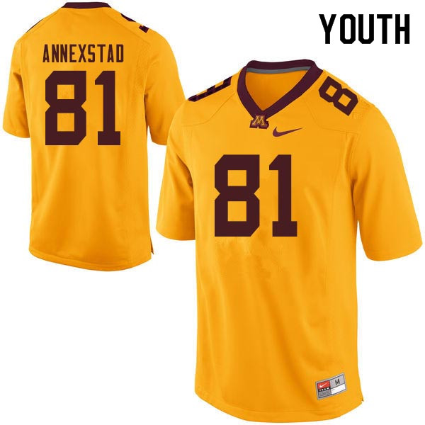Youth #81 Brock Annexstad Minnesota Golden Gophers College Football Jerseys Sale-Gold