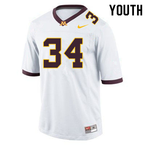 Youth #34 Brock Walker Minnesota Golden Gophers College Football Jerseys Sale-White