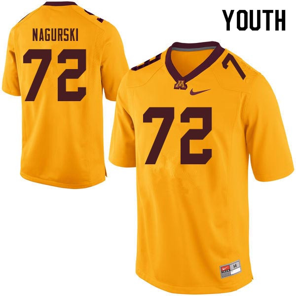 Youth #72 Bronko Nagurski Minnesota Golden Gophers College Football Jerseys Sale-Gold