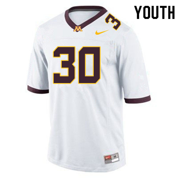 Youth #30 Caden Fey Minnesota Golden Gophers College Football Jerseys Sale-White