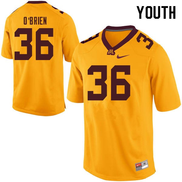Youth #36 Casey O'Brien Minnesota Golden Gophers College Football Jerseys Sale-Gold
