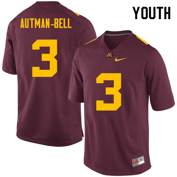 Youth #3 Chris Autman-Bell Minnesota Golden Gophers College Football Jerseys Sale-Maroon