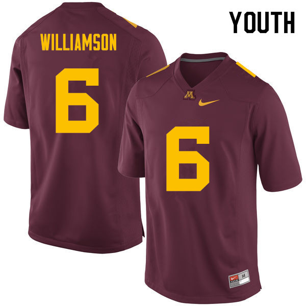 Youth #6 Chris Williamson Minnesota Golden Gophers College Football Jerseys Sale-Maroon