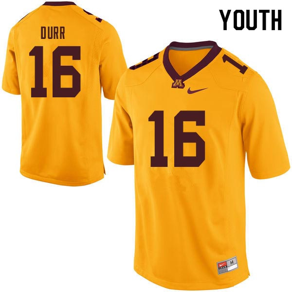 Youth #16 Coney Durr Minnesota Golden Gophers College Football Jerseys Sale-Gold
