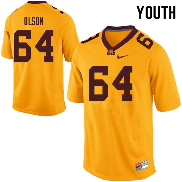 Youth #64 Conner Olson Minnesota Golden Gophers College Football Jerseys Sale-Gold