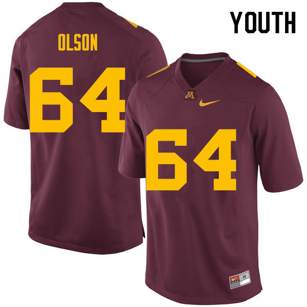 Youth #64 Conner Olson Minnesota Golden Gophers College Football Jerseys Sale-Maroon