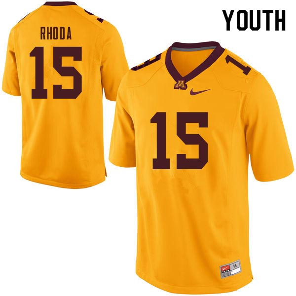 Youth #15 Conor Rhoda Minnesota Golden Gophers College Football Jerseys Sale-Gold