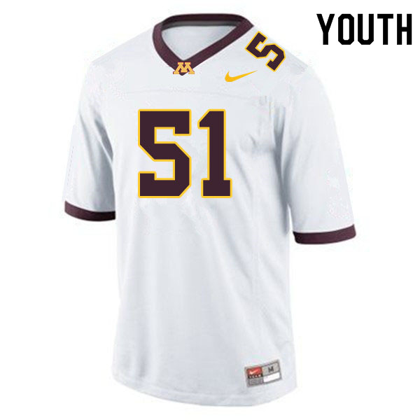 Youth #51 Curtis Dunlap Jr. Minnesota Golden Gophers College Football Jerseys Sale-White