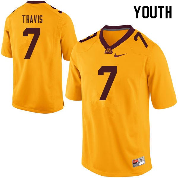 Youth #7 Damarius Travis Minnesota Golden Gophers College Football Jerseys Sale-Gold