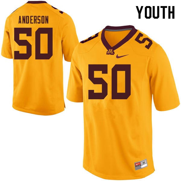 Youth #50 Danny Anderson Minnesota Golden Gophers College Football Jerseys Sale-Gold