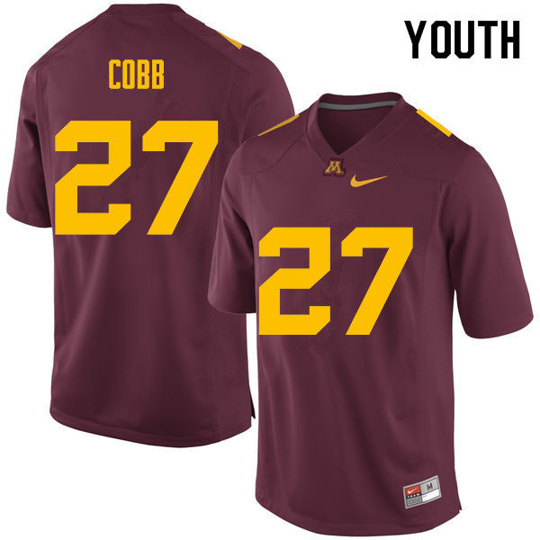 Youth #27 David Cobb Minnesota Golden Gophers College Football Jerseys Sale-Maroon