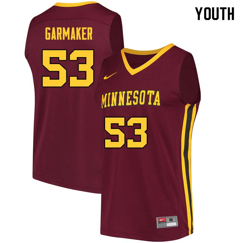 Youth #53 Dick Garmaker Minnesota Golden Gophers College Basketball Jerseys Sale-Maroon