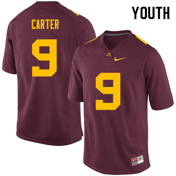 Youth #9 Eric Carter Minnesota Golden Gophers College Football Jerseys Sale-Maroon