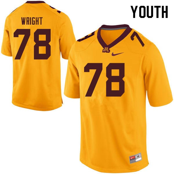 Youth #78 Garrison Wright Minnesota Golden Gophers College Football Jerseys Sale-Gold