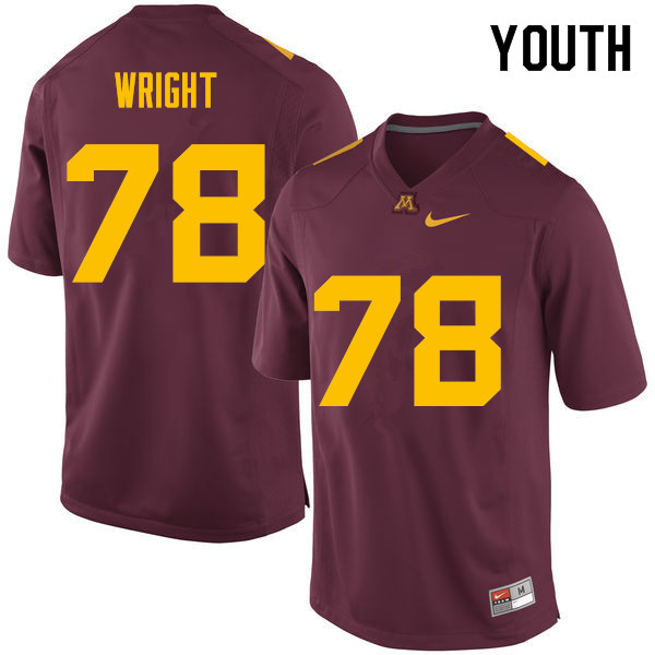 Youth #78 Garrison Wright Minnesota Golden Gophers College Football Jerseys Sale-Maroon