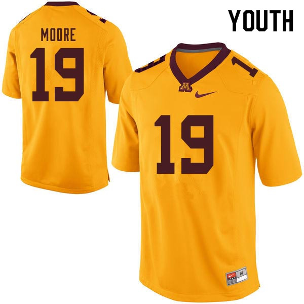 Youth #19 Gary Moore Minnesota Golden Gophers College Football Jerseys Sale-Gold