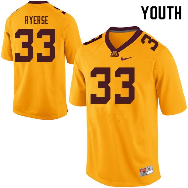 Youth #33 Grant Ryerse Minnesota Golden Gophers College Football Jerseys Sale-Gold