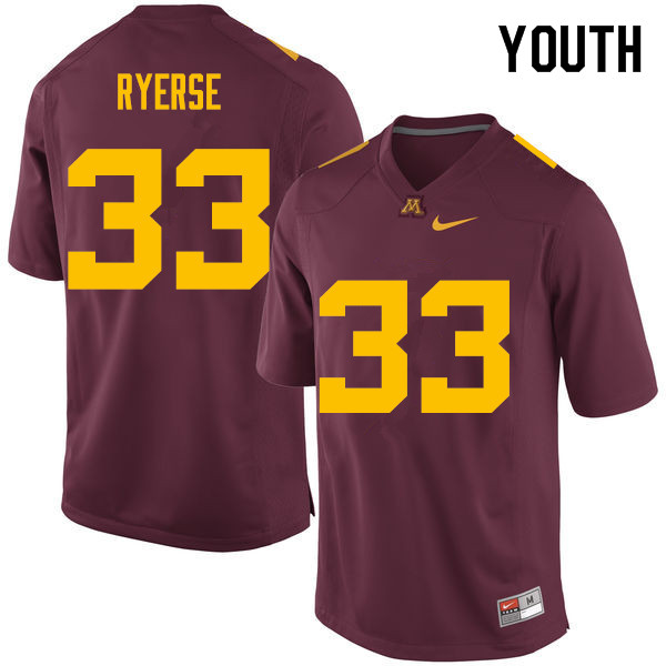 Youth #33 Grant Ryerse Minnesota Golden Gophers College Football Jerseys Sale-Maroon