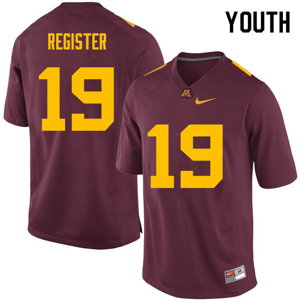 Youth #19 Hunter Register Minnesota Golden Gophers College Football Jerseys Sale-Maroon