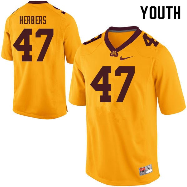 Youth #47 Jacob Herbers Minnesota Golden Gophers College Football Jerseys Sale-Gold