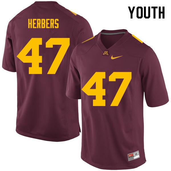Youth #47 Jacob Herbers Minnesota Golden Gophers College Football Jerseys Sale-Maroon