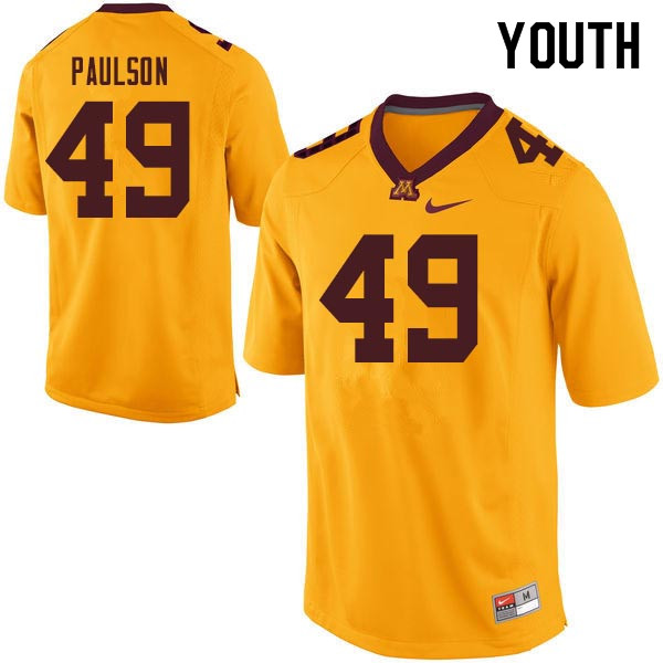 Youth #49 Jake Paulson Minnesota Golden Gophers College Football Jerseys Sale-Gold
