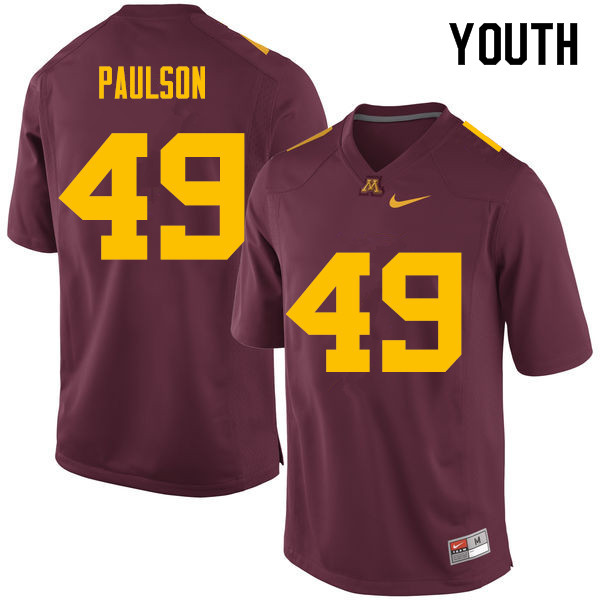 Youth #49 Jake Paulson Minnesota Golden Gophers College Football Jerseys Sale-Maroon