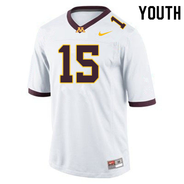 Youth #15 Jaqwondis Burns Minnesota Golden Gophers College Football Jerseys Sale-White