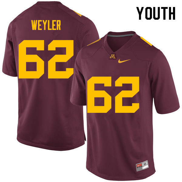 Youth #62 Jared Weyler Minnesota Golden Gophers College Football Jerseys Sale-Maroon
