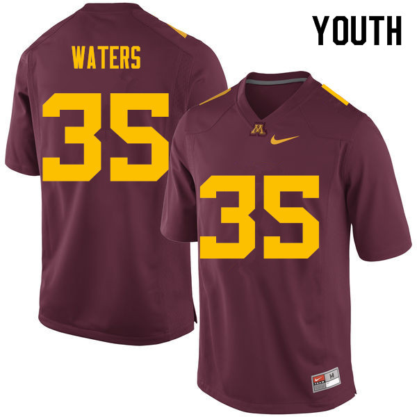 Youth #35 Jaylen Waters Minnesota Golden Gophers College Football Jerseys Sale-Maroon