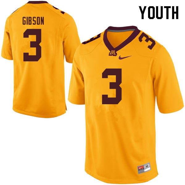 Youth #3 Jerry Gibson Minnesota Golden Gophers College Football Jerseys Sale-Gold