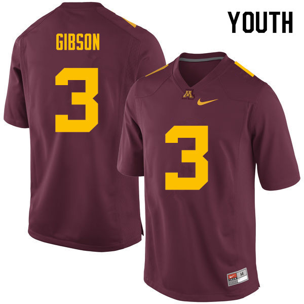 Youth #3 Jerry Gibson Minnesota Golden Gophers College Football Jerseys Sale-Maroon