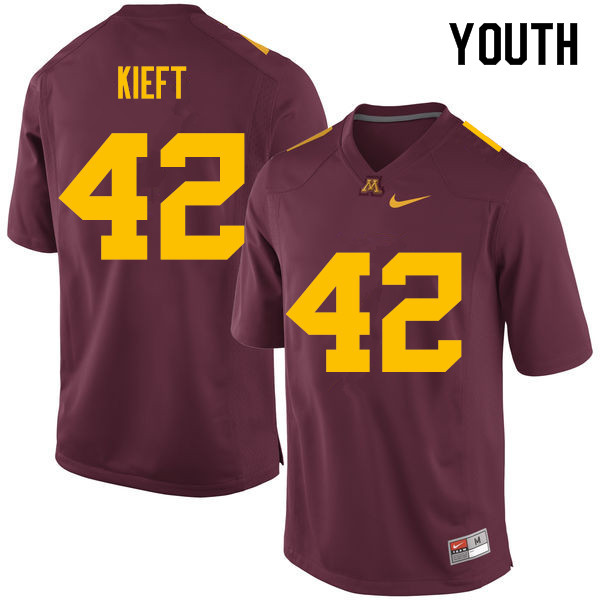 Youth #42 Ko Kieft Minnesota Golden Gophers College Football Jerseys Sale-Maroon