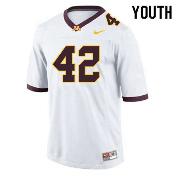 Youth #42 Ko Kieft Minnesota Golden Gophers College Football Jerseys Sale-White