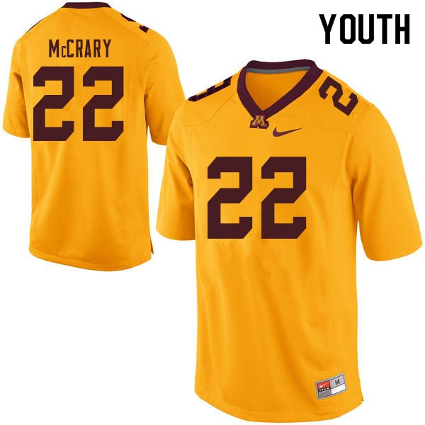 Youth #22 Kobe McCrary Minnesota Golden Gophers College Football Jerseys Sale-Gold