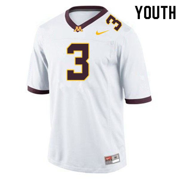 Youth #3 MJ Anderson Minnesota Golden Gophers College Football Jerseys Sale-White