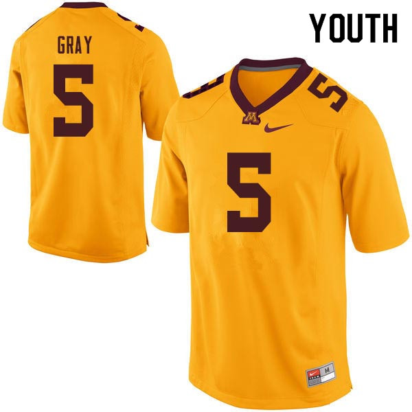 Youth #5 MarQueis Gray Minnesota Golden Gophers College Football Jerseys Sale-Gold