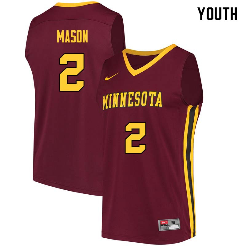 Youth #2 Nate Mason Minnesota Golden Gophers College Basketball Jerseys Sale-Maroon