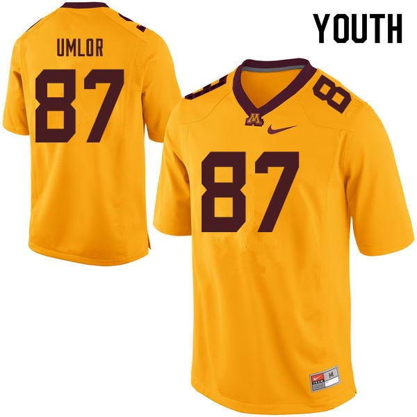 Youth #87 Nate Umlor Minnesota Golden Gophers College Football Jerseys Sale-Gold