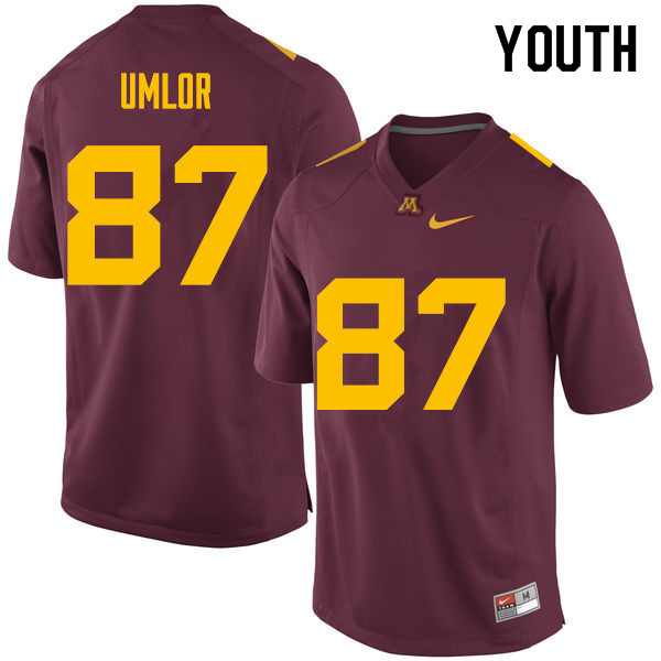 Youth #87 Nate Umlor Minnesota Golden Gophers College Football Jerseys Sale-Maroon