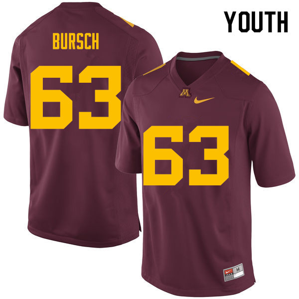 Youth #63 Nathan Bursch Minnesota Golden Gophers College Football Jerseys Sale-Maroon