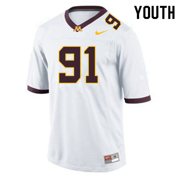 Youth #91 Noah Hickcox Minnesota Golden Gophers College Football Jerseys Sale-White